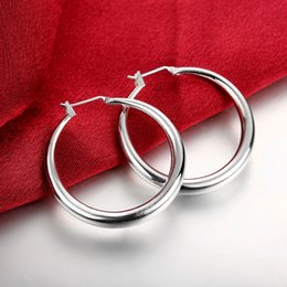 Wholesale Sterling Silver Sexy Earrings - Creole Round Stud Earrings Trendy 925 Sterling Silver Gift Accessories for Sexy Women Girls Fashion Round Silver Hoop Earrings Party Jewelry