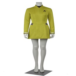 Wholesale Star Trek Uniforms - Popular Movie Star Trek Uhura Cosplay Costumes Dress Yellow Color Uniform Female Duty with Badge Customize
