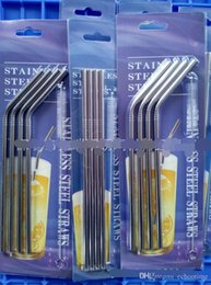 Wholesale Beer Drinking Cups - 2017 Stainless Steel Metal Drinking Straw Beer Juice Straws Cleaning Brush Set 4+1 Kit Fits Cups Retail Packing