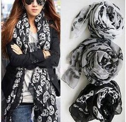 Wholesale Lace Drop Scarf - drop shipping new America fashion women girls Cotton voile long silk scarves Skull Head Skeleton printed Wrap Shawls black white gray