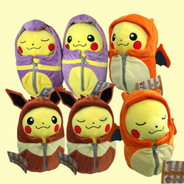 Wholesale Flareon Plush - 25cm Poke Pikachu Plush Toy Cosplay Charizard Espeon Flareon Eevee Sleeping Bag plush doll Stuffed Soft Dolls 6 Styles free shipping