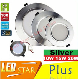 Wholesale Led Ceiling Lights Angle - Silver Body 10W 15W 20W Led Downlights Recessed Ceiling Lights 120 Angle Dimmable Led Down Lights AC 110-240V With Drivers CE UL