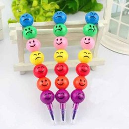 Wholesale Smiley Cartoon Pens - 1000 pcs Stationery Colorful WaterColor Brush Smiley Cartoon Pens Pencil Markers Children's Toys Gifts Watercolor pen 7 colors free shipping