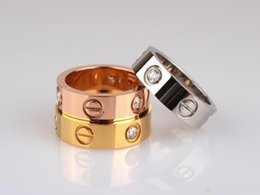 Wholesale Rings Three Fingers - Fashion Jewelry brand 316L stainless steel screw love Finger Ring multicolors plating rhinestone style lovers Gift