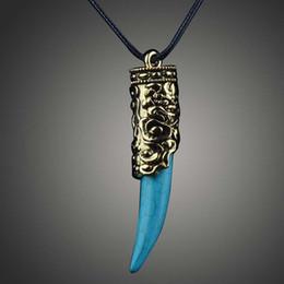 Wholesale Wholesale Custom Acrylic Necklaces - Vintage folk-custom Pendant neckalces Retro fashion Bohemia turquoise Pendant Touch gold symbol necklace Gold D00523