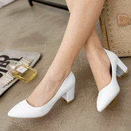 Wholesale Low Heels Online - Women's Shoes Online Sale White Heels Chunky Heel Pointed Toe High Heeled Pumps Black Almond