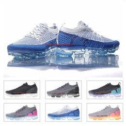 Wholesale Tpu Sports Shoes - 2018 Vapormax 2 Running Shoes For Man Women Tpu Blue White Trainers Sneakers Knitting Athletic Sports Shoes Runner Hiking Walking Shoes