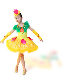 Wholesale Yellow Latin Performance - Freeship children girls green and yellow sequined feather tutu latin dance dress dance fairy stage performance dress cos