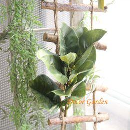 Commercio all'ingrosso di vendita al dettaglio 2 colori magnolia foglie foglie artificiali fiori artificiali decorazione della casa piante verdi spedizione gratuita MW17675 da