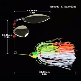 Wholesale Bass Rigs - 5pcs lot 17.5g Spinnerbait Bass Fishing Lure Blade Skirt Metal Spoon Spinner Bait Rig Pike Carp Fishing Tackle