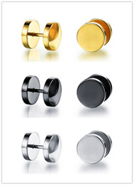 Wholesale Fake Ear Gauges - 3 Pair A Set Cool Rock Mens Stainless Steel Barbell Piercing Earrings Cheater Fake Ear Plugs Gauges Illusion Tunnel Stud
