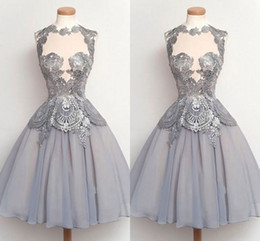 Wholesale Gold Evening Dresses Homecoming - gray Homecoming Dresses 2016 Lace Applique Sheer Neck Evening Gowns Chiffon Knee Length Formal Party Dresses Cheap For Girls