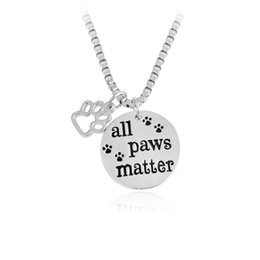 Wholesale matter color - All Paws Matter Necklace Hollow Dog Paw Prints Round tag Pendant Necklace for Women Men Silver Color Pet Animal Jewelry Gift