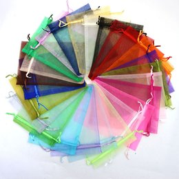 Wholesale Silk Organza Gift Bags - 200pcs 7x9 9x12 11x16 13x18 17x23 Organza Bag Jewelry Packing Christmas Wedding Voile Gift Bag Solid Multi-Color Gift Pouch Drawstring Pouc