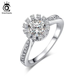 Wholesale Ladies Gold Wedding Rings - Ladies Engagement Ring 0.9 ct Cubic Zirconia Invisible Setting Ring Micro CZ Stones Around White Gold Plated Jewelry OR33