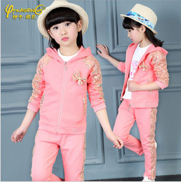 Wholesale Shirts For Boys Jacket - Autumn Baby Girls Clothes Jacket Bow Kids Hoodies+Pants+T-shirt Kids Tracksuit For Girls Sequins Clothing Sets Girl Sport Suit free shipping
