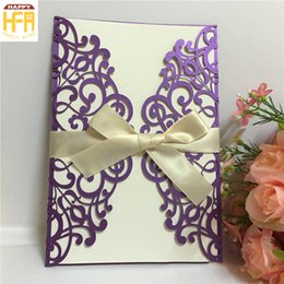 Wholesale Wedding Invitations Decorations - 12.8*18.6Cm Invitation Card Embroidered Wedding Cards Festival Decoration Invitation Card Hollow Design Christmas Cards For Fancy Party