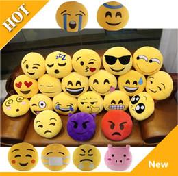 emoji plush Promotion Haute Qualité Jaune Emoji Coussins Coussin 32CM Dessin Animé Mignon Smiley Visage Expression Rond Décoratif Emoji En Peluche En Peluche Jouet 2755