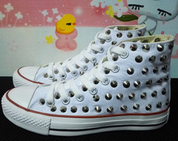 Wholesale Solid Cleaning - Ship with box! drop ship new 2016 high model sharp studs canvas shoes clean and dirty model unisex shoes for lovers of all size 35-43 eur