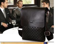 Wholesale Envelope Bag Leather Men - Business shoulder bags Brand Designer Men PU Leather Handbag Black Brown Briefcase Laptop Shoulder Bag Messenger freeshipping