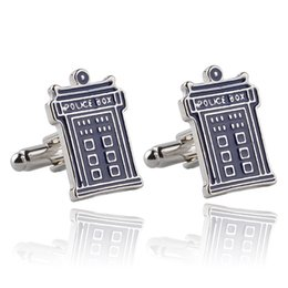 Wholesale Doctor Tardis Shirt - 2016 DW Doctor Who Tardis Police Box Cufflink Cuff Links for men shirts dress suit Cuff links fashion jewelry Christmas gift 170549