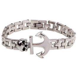Wholesale Awesome Skulls - Titanium Steel Sailing style Skull Anchor Bracelet bangle awesome wrist Bracelets awesome Bangles AAAAA classic Christ super cool jewelry