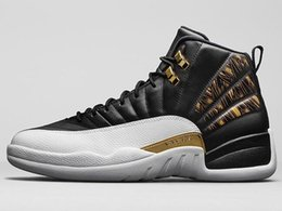 Wholesale rubber wings - High Quality 12 12s Wings Men Basketball Shoes Wings Discolor Gold 12s Master Sports Sneakers With Shoes Box