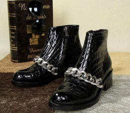 Wholesale Short Posts - free hongkong post~ u163 40 genuine leather silver chain short boots