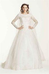 Wholesale Dropped Waist Wedding Dress Tulle - Jewel Neck Long Sleeve Drop-Waist Tulle Wedding Dress WG3726 Original Lace Applique Illusion Back Bridal Dress