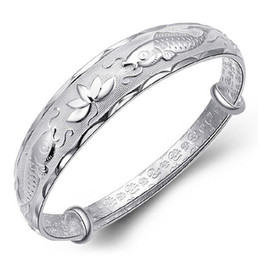 Wholesale Pisces Gifts - Women Brand New Fashion Pisces Lotus Adjusted Bangle Trendy 925 Sterling Silver Jewelry Exquisite Lucky Party Bracelets 6Pcs Lot Free Ship