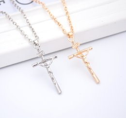 Wholesale Sp Wholesale Jewelry - 6pcs Jesus Cross Necklace Clavicle Chain Unisex Jewelry Trendy Vintage Stainless Steel Real Gold Plated Hot Explosion Models Jewelry SP-73