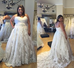 Wholesale Sweetheart Natural Waist White Dresses - 2016 Plus Size Lace Wedding Dresses Sweetheart Ruffles A Line Beaded Waist Bridal Gowns Custom Made Wedding Gowns