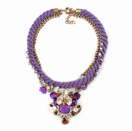 Wholesale Cotton Rope Handmade Necklaces - new arrival 2016 cotton rope crystal luxury brand statement exaggerated handmade necklace jewelry for women