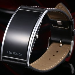 Wholesale Cool Digital Watches For Men - Fashion Cool Black LED Digital Watch For Ladies Leather Bracelet Wristwatches Men Women Boys Girls Unisex Luxury Brand Watch