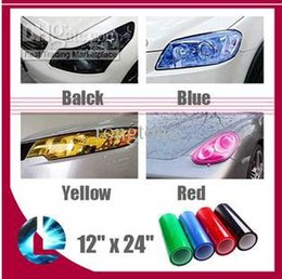 "Wholesale Chevrolet Cruze Fog Lights - Lots100 Auto Car HeadLight Sticker 12"" x 24"" Fog Xenon LED Light Taillight Tint Vinyl Film Sheet For chevrolet cruze motorcycle so on fast"