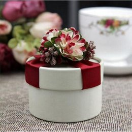 Wholesale European Favor Candy Box - European Style New Wedding Flower Candy Box Cylindrical Wedding Favors Holder Gift 16 Styles for you 50pcs free shipping