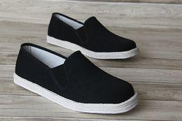 Wholesale Men Plimsolls - Men's Kung Fu Shoes Slippers (White Cloth Soled) Tai Chi Martial Arts Plimsolls