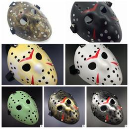 Wholesale Hockey Masks - Archaistic Jason Mask Full Face Antique Killer Mask Jason VS Friday The 13th Prop Horror Hockey Halloween Cosplay Party Mask CCA7529 100pcs