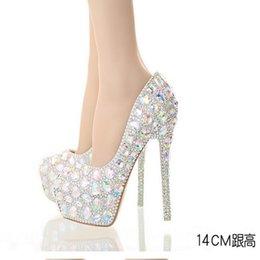 Wholesale Sparkle Diamond Prom Dresses - AB Crystal Diamond Exquisite Wedding Shoes Sparkling Rhinestone Handcraft Bridal Shoes Thin Heel Evening Prom Party Women Pumps