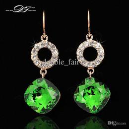 Wholesale Vintage Brass Chandeliers - Nobleness Green AAA+ Imitation Crystal Vintage Party Drop Earrings 18K Rose Gold Plated CZ Diamond Wedding Jewelry For Women DFE698
