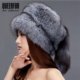 Wholesale White Fox Tail - Wholesale-QUEENFUR Women Beanies Whole Knitted Fox Fur Hat With Tail 2016 Fashion Winter Warm Big Skullies Caps Brown Raccoon Fur Hats