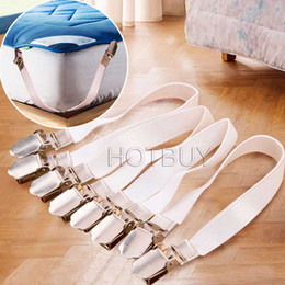 Wholesale Chrome Metal Clip - 4Pcs Chrome Metal Bed Sheet Fasteners Clip Grippers Mattress Strong Elastic Holder Home Household Textile Easy Tools #4014