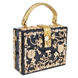 Wholesale Black Evening Party Bags - Luxury Box shape Tote Women Handbag Brand Acrylic Relief Black Evening Clutch Bag Ladies Prom Party Purse Shoulder Bag Y1808