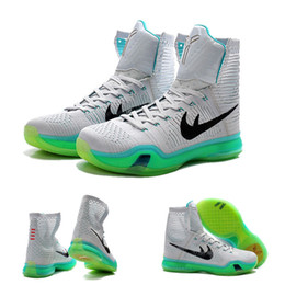 Wholesale Elevate Shoes - (With shoes Box) Kobe 10 X Bryant Elite High Elevate Wolf Grey 718763-041 Men KB Boots Shoes