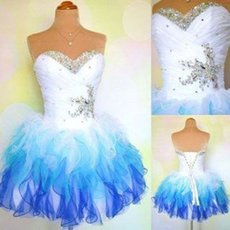 Wholesale Ombre Short Dress - Ombre Special Design Homecoming Dresses Sweetheart Beaded Prom Dresses Layers Back Lace-up Custom Made Ball Gown Party Dress For Birthday