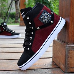 Wholesale Sneaker Dance - Free shipping new men's high-top shoes fashion casual sports shoes street dance shoes sneakers stitching canvas shoes