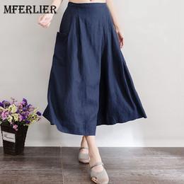 Wholesale Legging Capris Women - Autumn Women Artsy Vintage Wide Leg Pants Solid Blue Wine Red Back Elastic Waist Pocket Front Pleated Pants