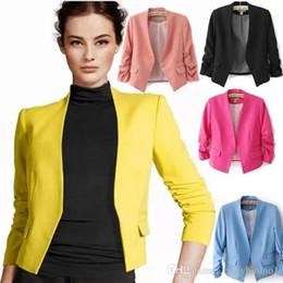 Wholesale Women S Short Blazers - Blazer feminino 2015 Spring Chaquetas Mujer New OL Work Candy Color Thin Outerwear Coat Casual Mini Short Blazer Women Suit Jacket OXL051301