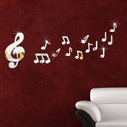 Wholesale Wall Stickers Music Notes - Three-dimensional wall stickers children's room music room dance studio mirror note new 2016 European and American fashion