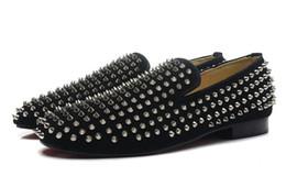Wholesale Sliver Heels - New 2016 mens sliver spikes black matter leather red bottom loafers,designer brand business wedding dress shoes,fashion men oxfords 39-46